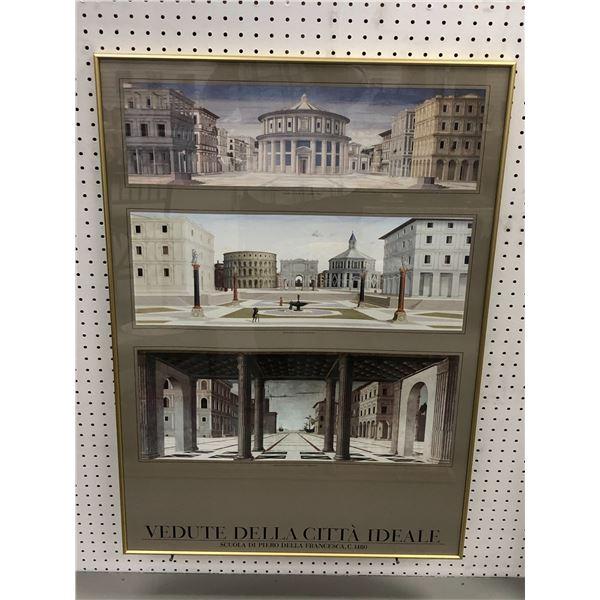 Framed Mediterranean architect print - approx. 27in  x 38 1/2in