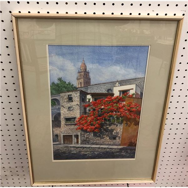 Framed original watercolor painting cobblestone street w/ large stone house - signed bottom right co