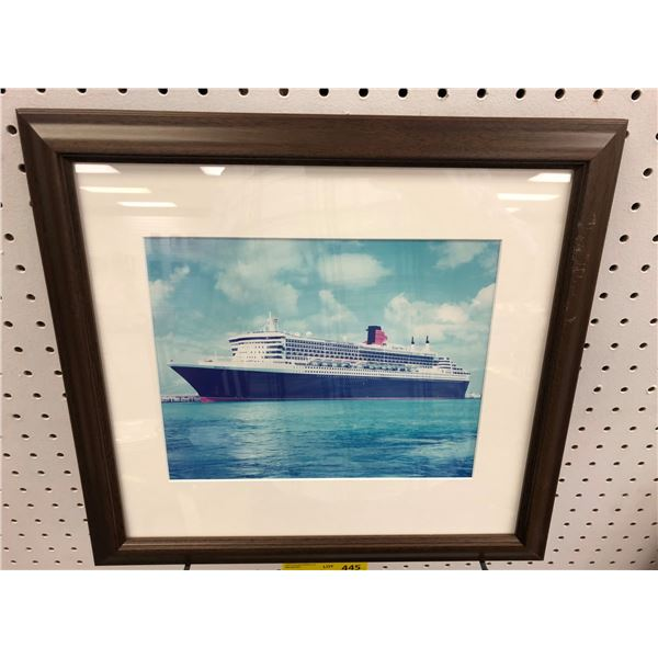 Framed photograph of the Queen Mary 2 cruise ship - approx. 9 1/2in x 8in