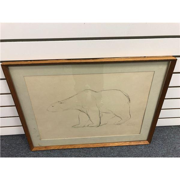 "Framed original charcoal pencil sketch drawing ""Polar Bear"" signed by artist bottom right corner - a"