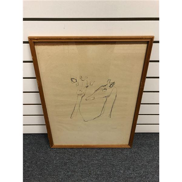 "Framed original charcoal pencil sketch drawing ""Giraffe"" signed by artist bottom right corner - appr"