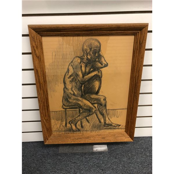 Frank Molnar (1936-2020) - framed nude charcoal pencil sketch drawing signed 1999 - old man sitting
