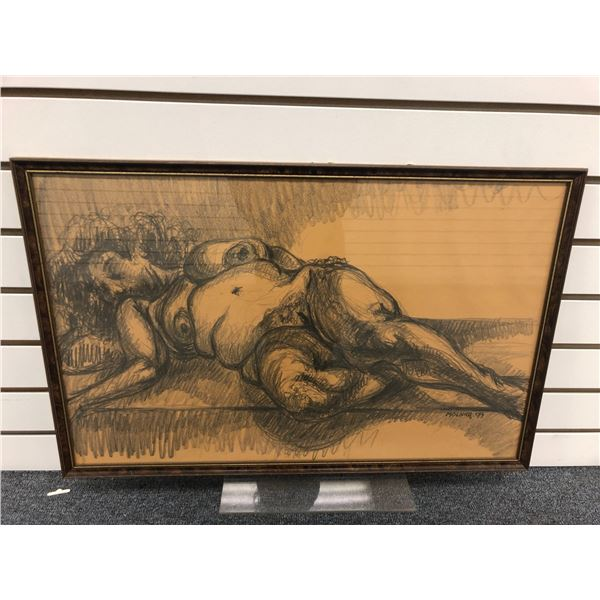 Frank Molnar (1936-2020) - framed nude charcoal pencil sketch drawing signed 1999 - woman on bed - 2