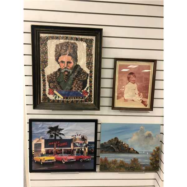 Group of 4 assorted decorative wall hangings