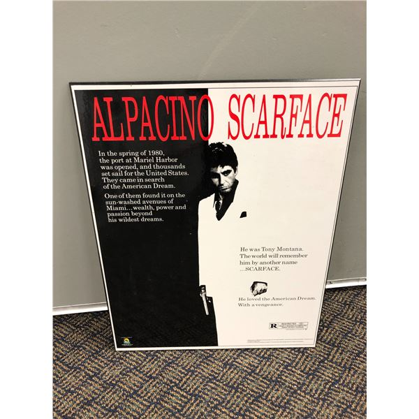 AL Pacino Scarface movie advertisement print on board - 15 1/2in x 20in