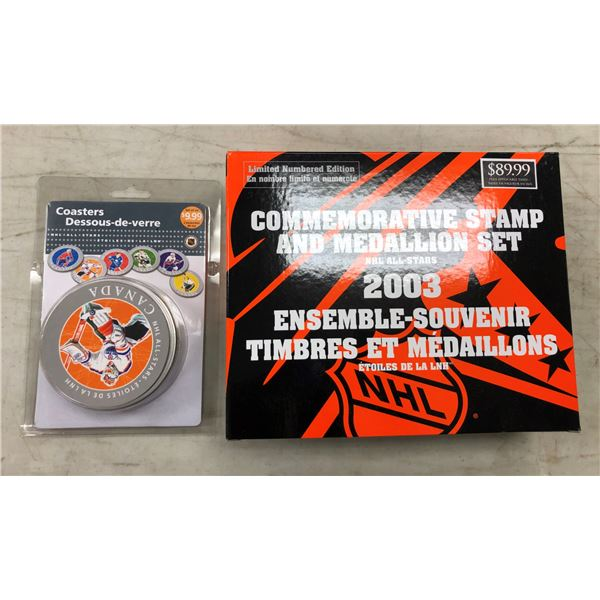 NHL All Stars Commemorative stamp & medallion set & NHL drink coasters set