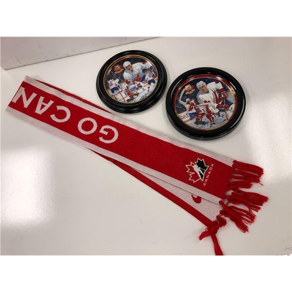 Nike team Canada Go Canada Scarf & 2 team Canada collector's plates