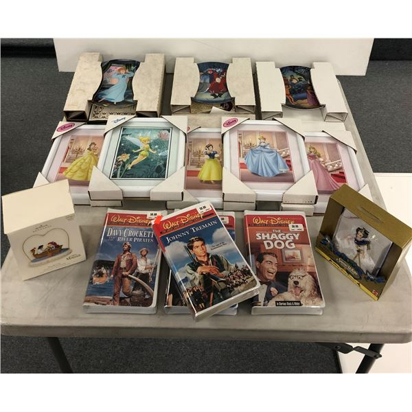 Group of assorted Disney collectibles - 4 factory sealed Disney films/ 5 framed Disney prints/ 3 col