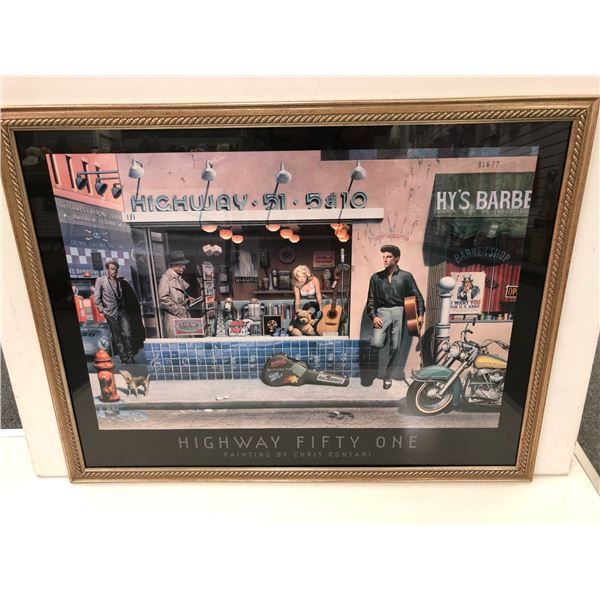 Framed Highway 51 Elvis Presley & Friends Chris Consani print - approx. 26 1/2in x 34 1/2in