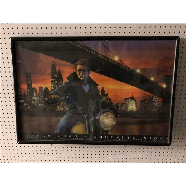 Framed James Dean Brooklyn Nights Tim Gill print - approx. 23in x 33 1/2in