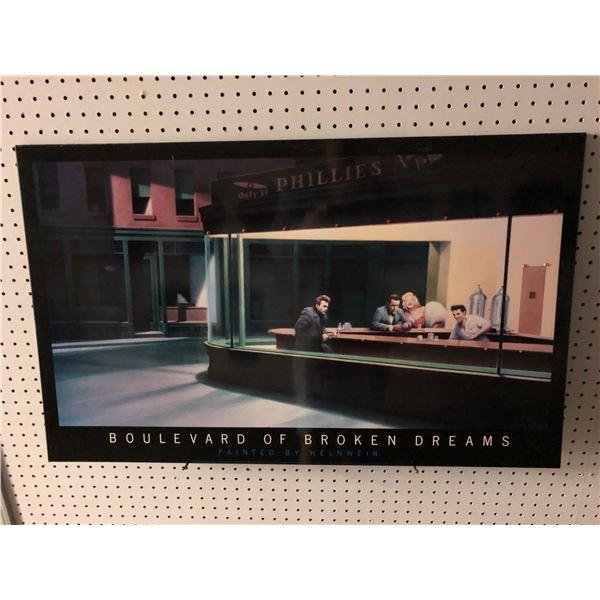 Boulevard of Broken Dreams lighted print on board by Helnwein - approx. 22in x 36in (AC adapter miss