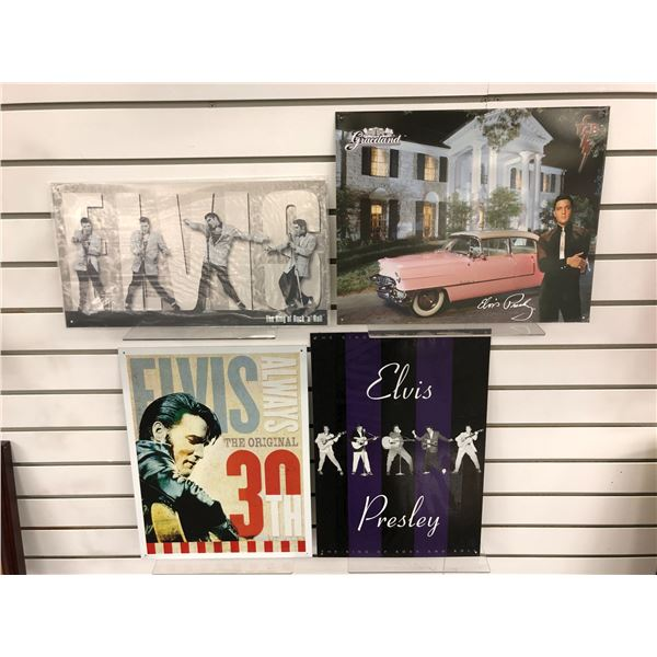 Group of 4 Elvis Presley tin collector's signs - various sizes