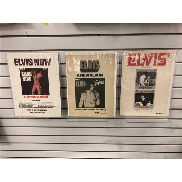 Group of 3 Elvis Presley RCA records & tapes collector's album paper advertisement signs - approx. 1