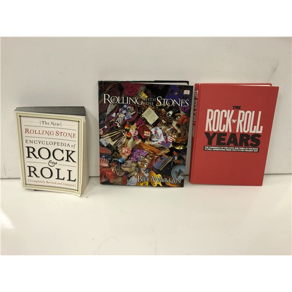Three Rock & Roll collector's books - Rolling with the Stones/ Rolling Stone Encyclopedia & The Rock