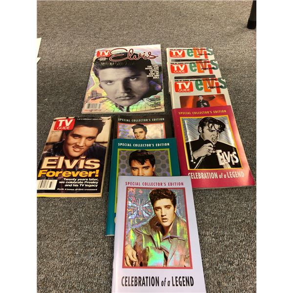 Group of 9 TV Guide & Special Collector Edition Elvis Celebration of a Legend collector's books