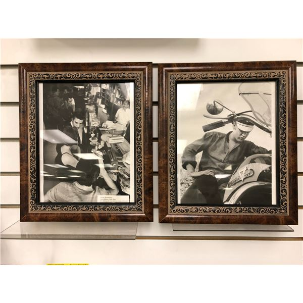 Pair of framed Elvis Presley black & white pictures - each picture measures approx. 10 1/2in x 12 1/