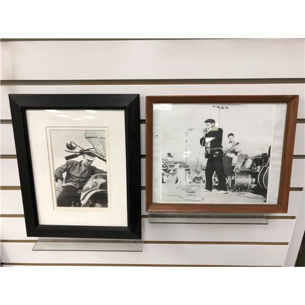 Pair of framed Elvis Presley black & white pictures - approx. 10in x 11 1/2in & 11in x 9in