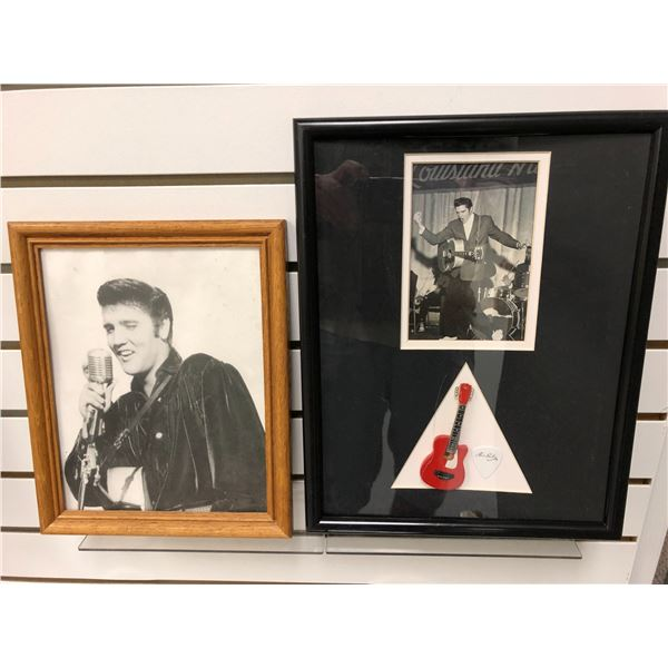 Pair of framed Elvis Presley black & white pictures - approx. 9in x 11in & approx. 11in x 14in
