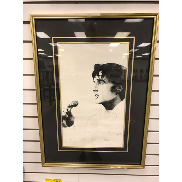 """Framed Elvis Presley limited edition print """"If I Can Dream"""" by artist Mario Crudo #43/500 - approx."""