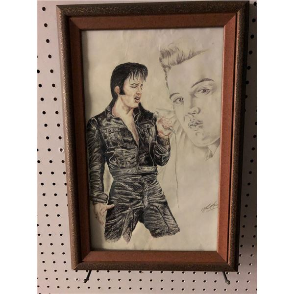 Framed Elvis Presley print signed by artist - approx. 12in x 18 1/2in