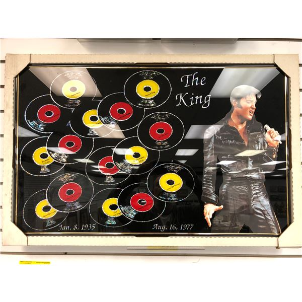 Framed Elvis Presley The King print on glass Jan. 8, 1935 - Aug. 16, 1977 - approx. 34 1/2in x 22 1/