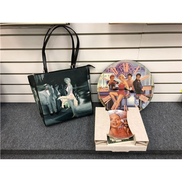 Group of Marilyn Monroe collectible items - ladies handbag/ Hollywood diner wall clock & collector's