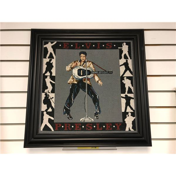Framed petty point stitched Elvis Presley decorative wall hanging - approx. 21 1/2in x 22in