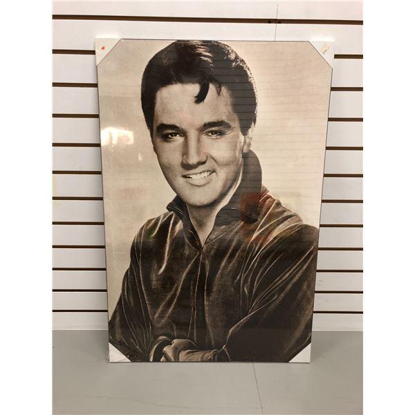 Elvis Presley black & white print on board - 34 1/2in x 23in
