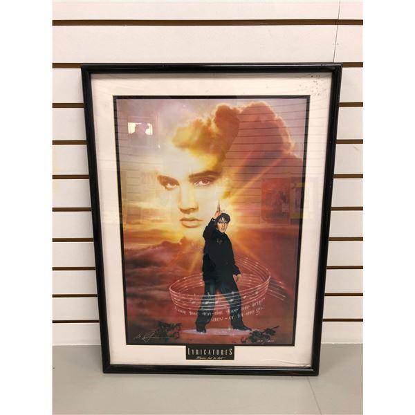 """Framed Elvis Presley limited edition print Lyricatures """"Music Set to Art"""" #1271/1977 signed by artis"""