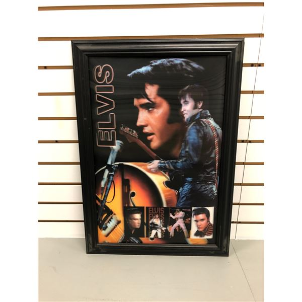 Framed Elvis Presley hologram collectible decorative wall hanging - approx. 26 1/2in x 19in