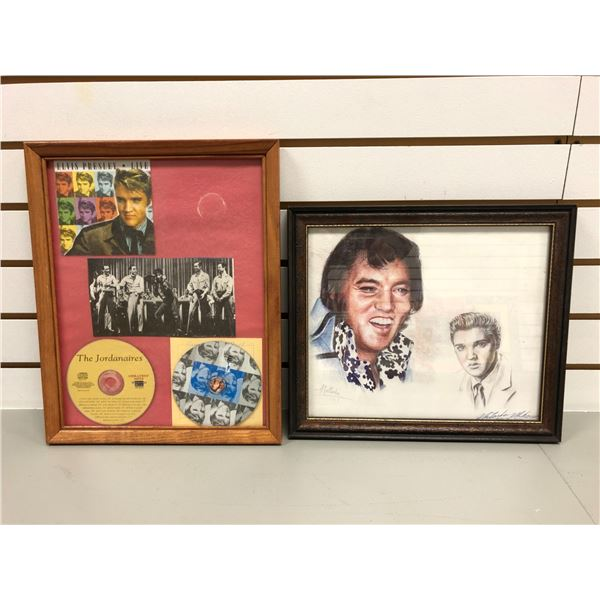 Two Elvis Presley framed collectible wall hangings - signed print Natalie 1977 & framed compact disk