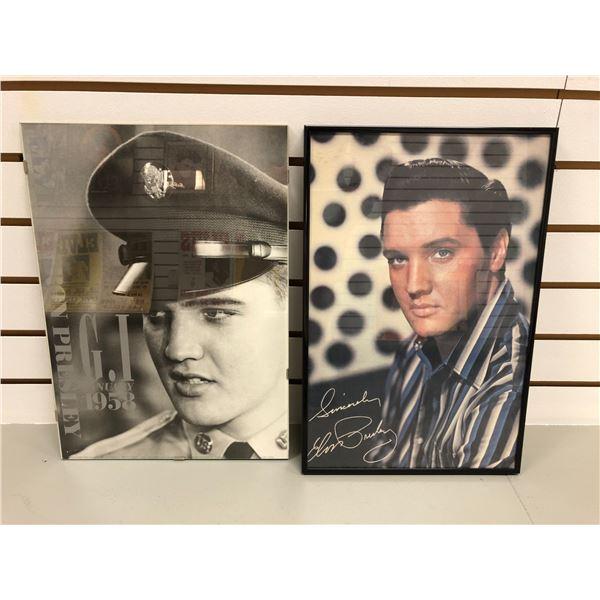 Two framed Elvis Presley prints - approx. 17in x 11in & 12in x 17in