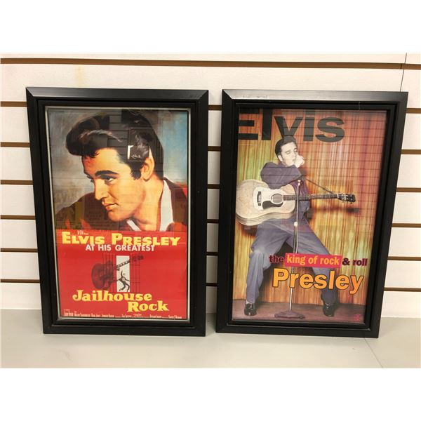 Two framed Elvis Presley tin lithograph collector's signs - approx. 19in x 13in each