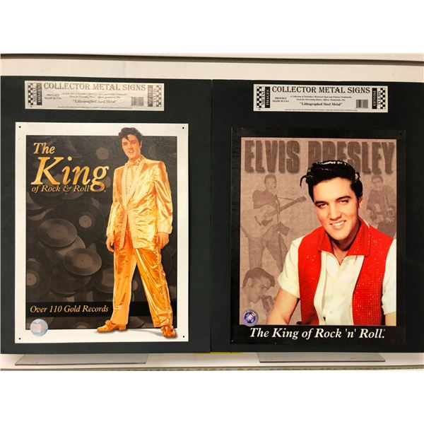 Two Elvis Presley collector metal signs lithograph steel metal - approx. 16in x 12 1/2in each