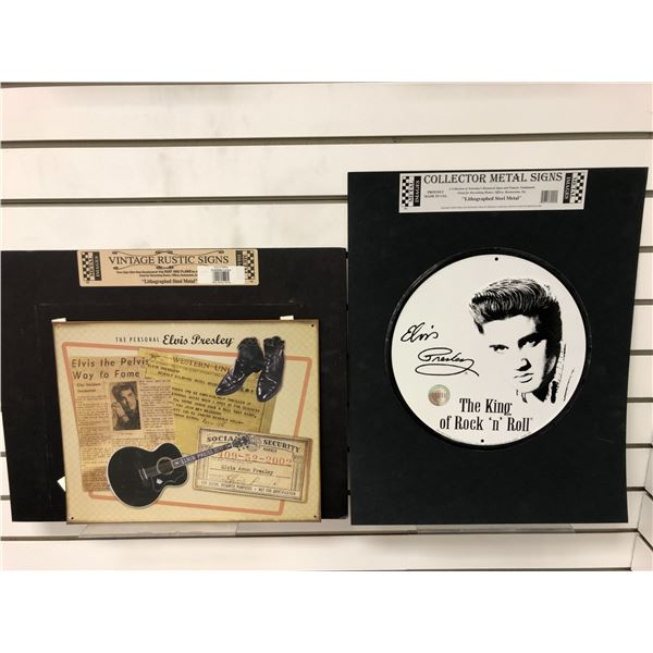 Two Elvis Presley collector metal signs lithograph steel metal - approx. 12in x 15in & 12in diameter