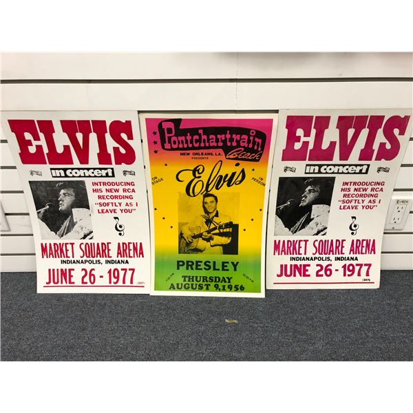 Group of 3 Elvis Presley in concert collector's advertisement cardboard signs - approx. 22in x 14in