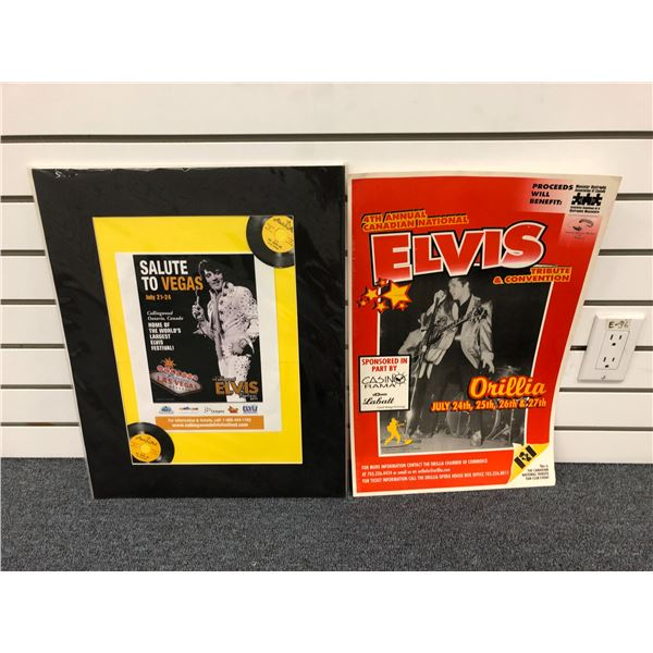 Two Elvis impersonator cardboard & paper advertisement signs - approx. 20in x 13in each