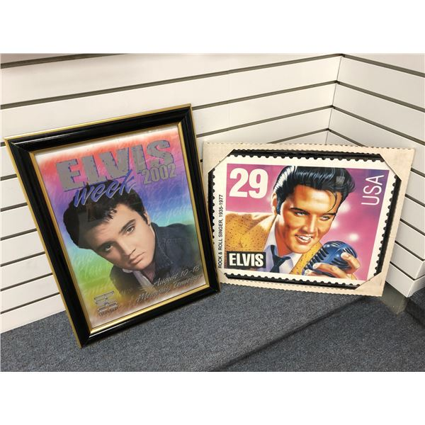 Two framed Elvis Presley collectible decorative wall hanging prints - approx. 22in x 17in & 18in x 2