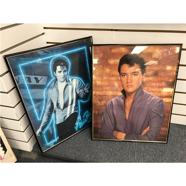 Pair of Elvis Presley framed collectible prints - approx. 16in x 20in each