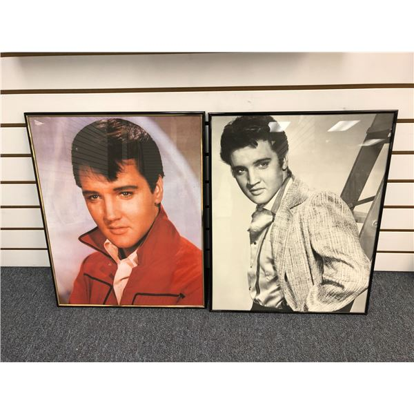 Pair of Elvis Presley framed collectible decorative prints - approx. 16in x 20in each