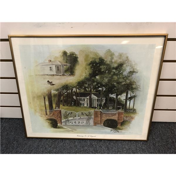 Framed Elvis Presley's Graceland print by Betty Malone signed by artist - approx. 16in x 20in
