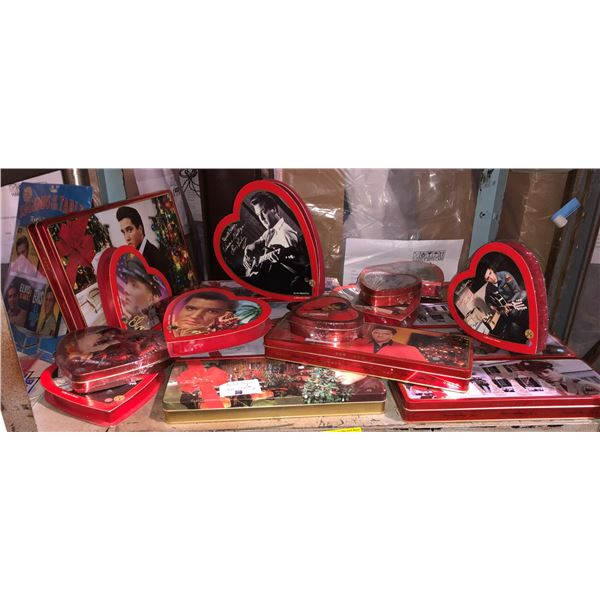Shelf lot of assorted Elvis Presley collectible chocolate boxes - some full, most empty