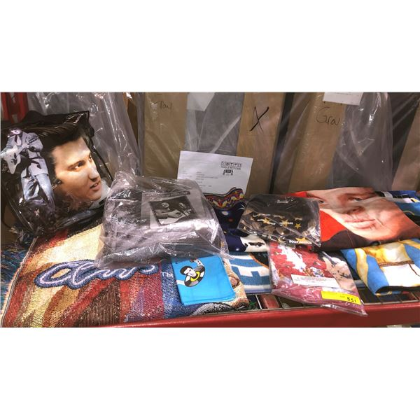 Shelf lot of assorted Elvis Presley collectible items - blankets/ towels/ pillows etc.