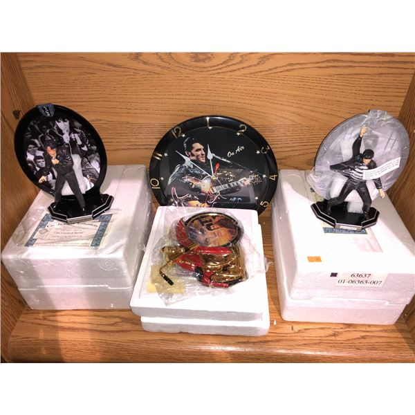 Shelf lot of assorted Elvis Presley memorabilia - wall clock/ Elvis figures etc. w/ COAs