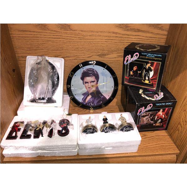 Shelf lot of assorted Elvis Presley memorabilia - wall clock/ figurines etc. w/ COAs