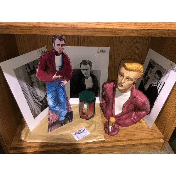 Shelf lot of assorted James Dean collectible items (large ceramic James Dean bust has large chip on