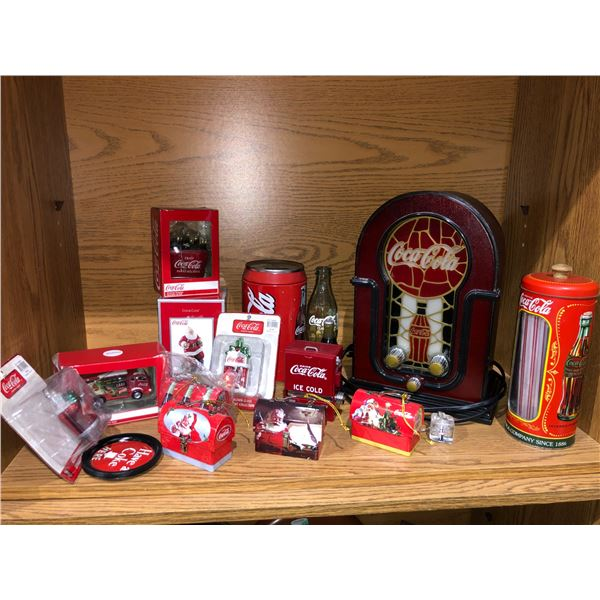 Shelf lot of assorted Coca Cola collectibles