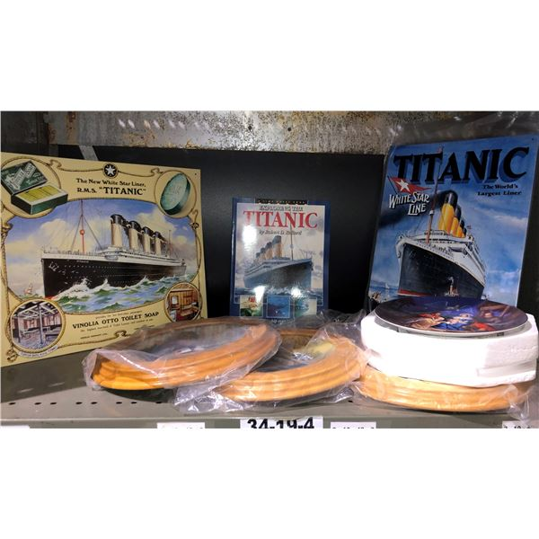 Shelf lot of assorted Titanic collectibles & collector's plates - 2 Titanic tin lithograph signs/ Ti