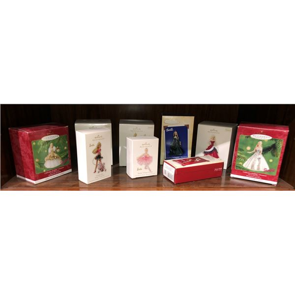 Group of 9 Barbie collectible Christmas tree ornaments