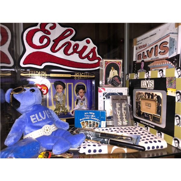 Shelf lot of assorted Elvis Presley memorabilia - sew-on patch/ TY Elvis Beanie Baby/ assorted figur
